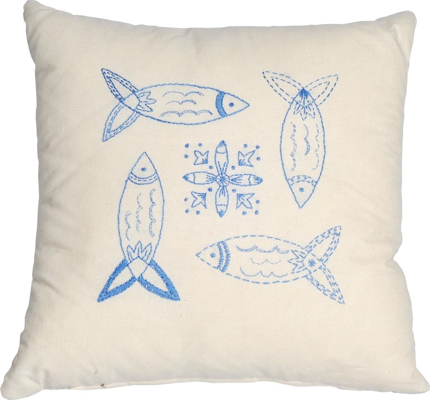 Anette Eriksson Blue Fish Premium Cushion Kit Embroidery