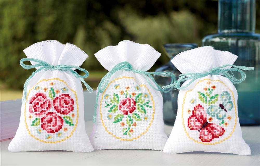 Roses and Butterflies Bags - Set 3 -  Cross Stitch Kit