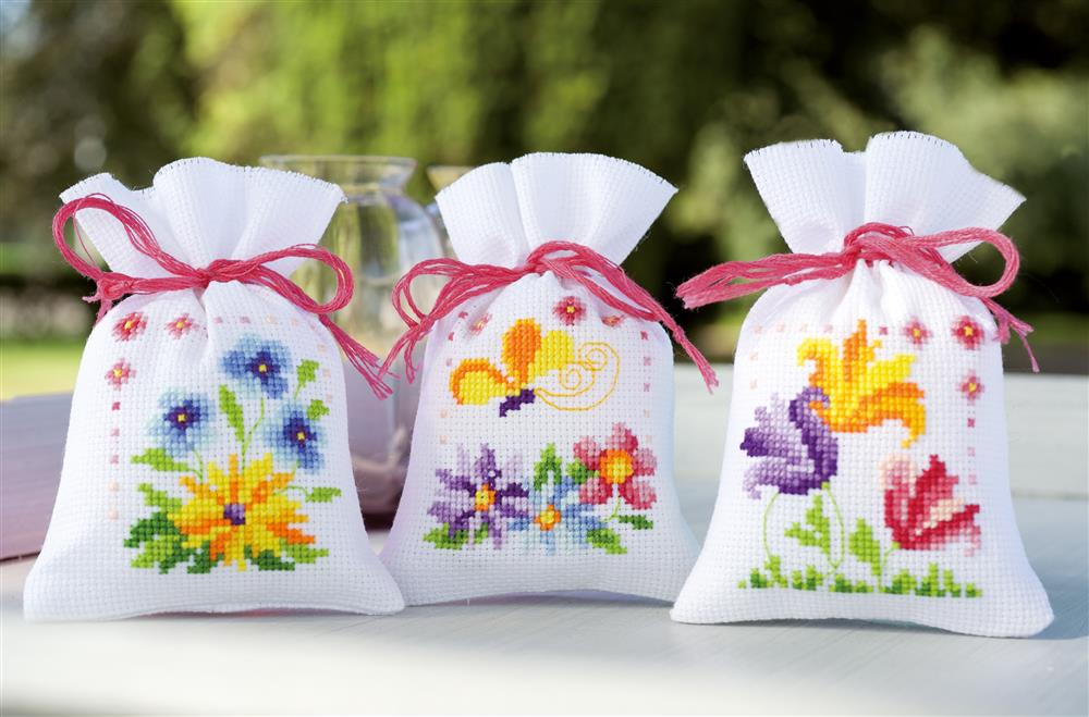 Flowers and Butterflies Bags - Set 3 -  Cross Stitch Kit