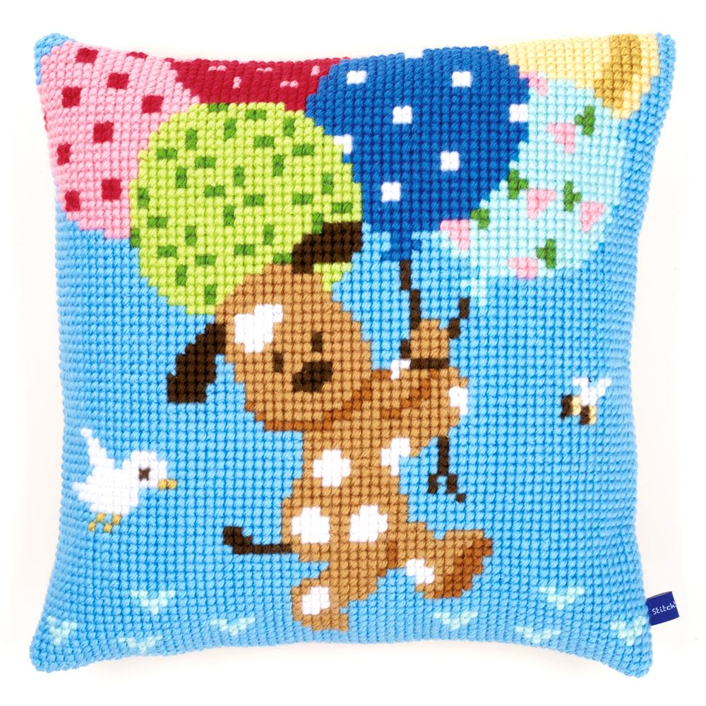 Vervaco Dog with Balloons Cushion Cross Stitch Kit