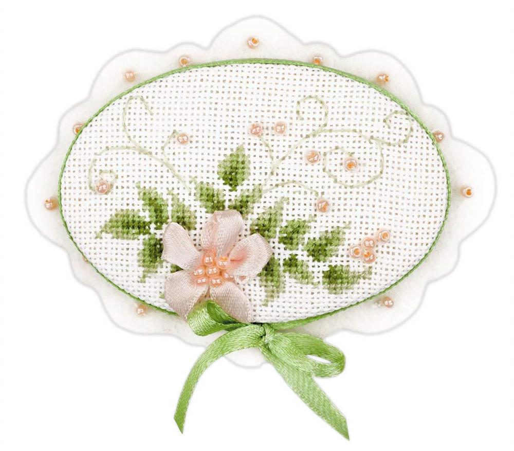 Brooch Porcelain -  Cross Stitch Kit