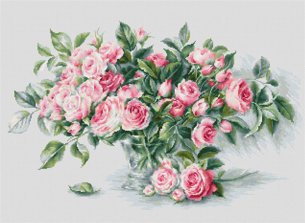 Luca-S Bouquet of Pink Roses Cross Stitch Kit