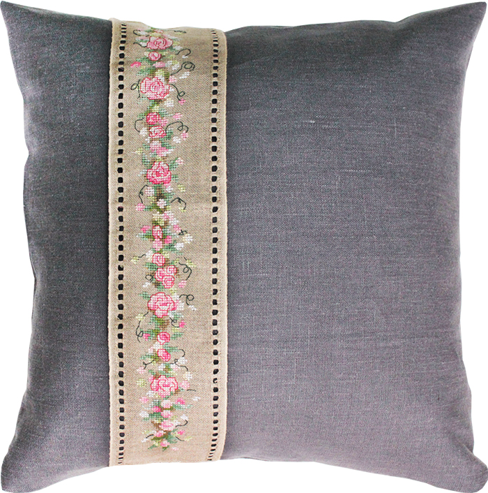Rose Band Pillow -  Cross Stitch Kit