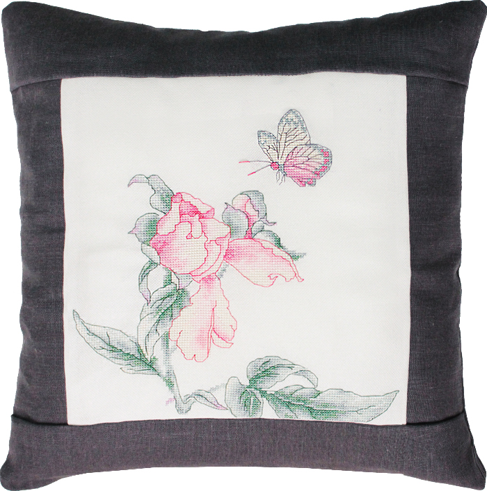 Luca-S Rose and Butterfly Pillow - Grey Cross Stitch Kit