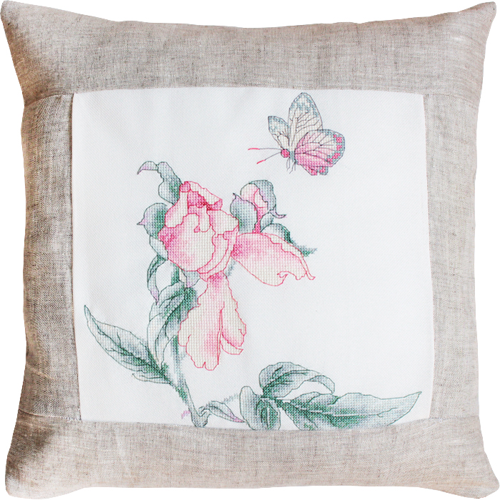 Rose and Butterfly Pillow -  Cross Stitch Kit