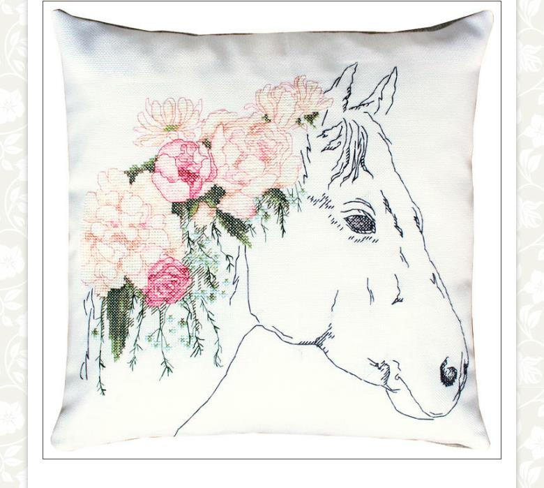 Luca-S Floral Horse Pillow Cross Stitch Kit