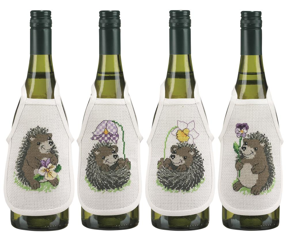 Hedgehog Wine Aprons -  Cross Stitch Kit