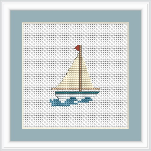 Luca-S Boat Mini Kit Cross Stitch