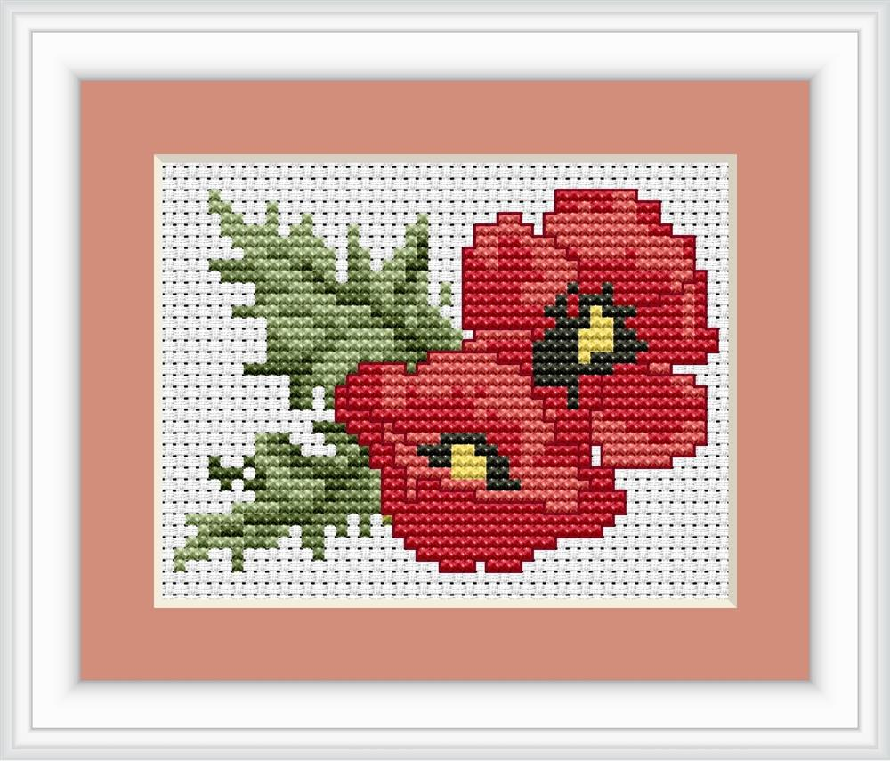Luca-S Poppies Mini Kit Cross Stitch