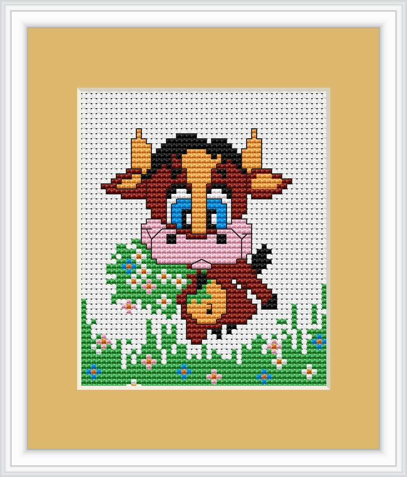 Luca-S Baby Cow Mini Kit Cross Stitch