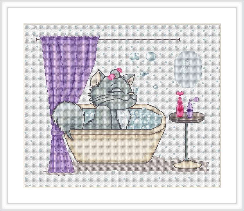 Kiti Takes a Bath -  Cross Stitch Kit
