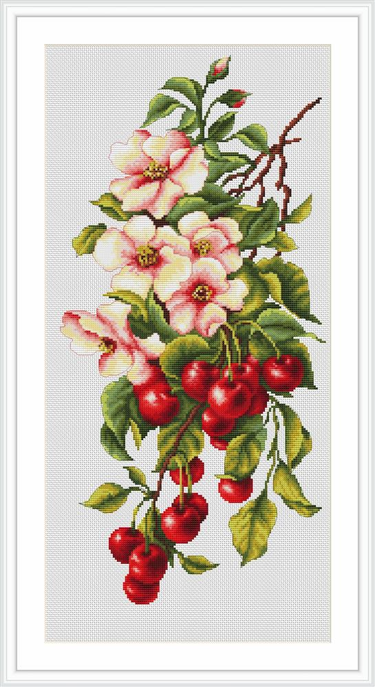 Luca-S Still Life with Cherries Cross Stitch Kit