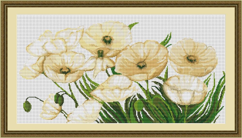 White Poppies -  Cross Stitch Kit