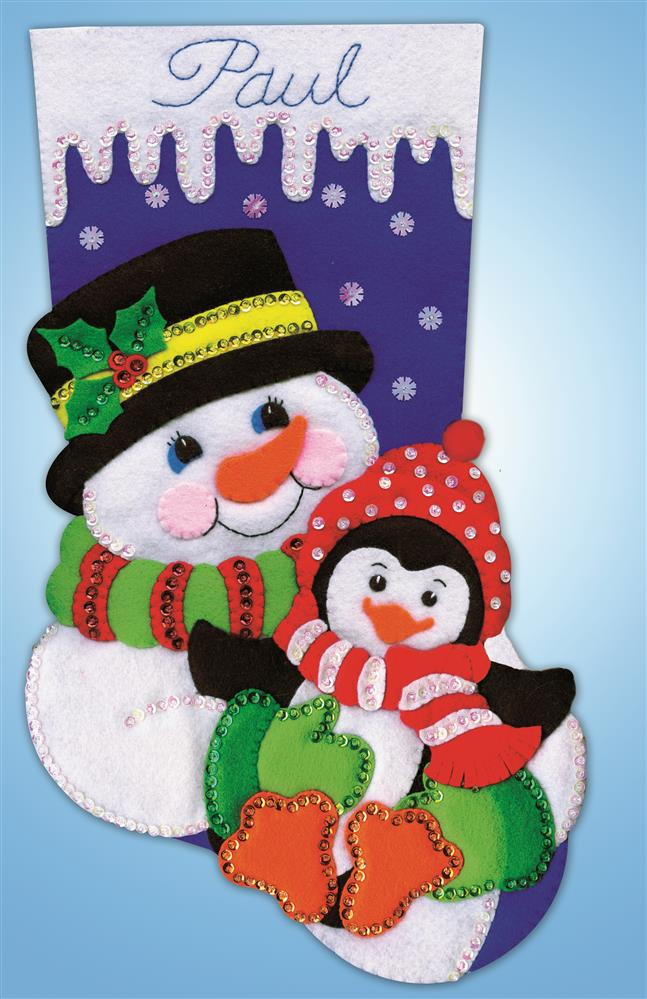 Design Works Crafts Snowman and Penguin Stocking Craft Kit