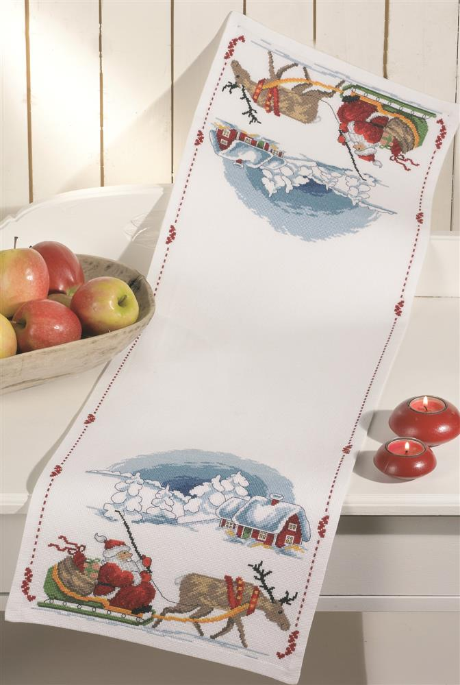 Santa Sleigh Runner -  Christmas Cross Stitch Kit