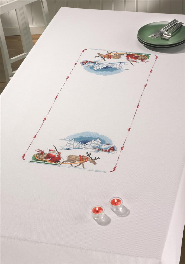 Permin Santa Sleigh Tablecloth Cross Stitch Kit
