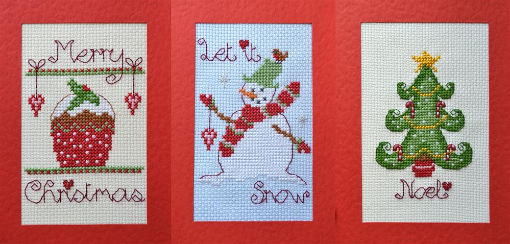 Tree and Snowman Cards - Set of 3 -  Christmas Cross Stitch Kit