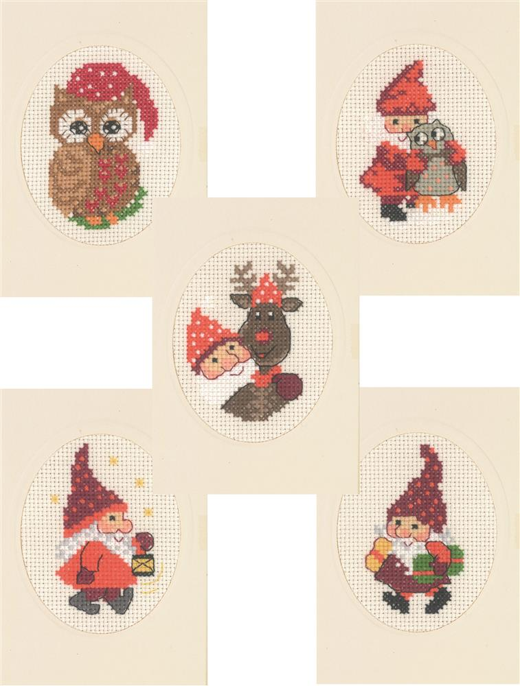 Santa and Friends Cards - Set 5 -  Christmas Cross Stitch Kit