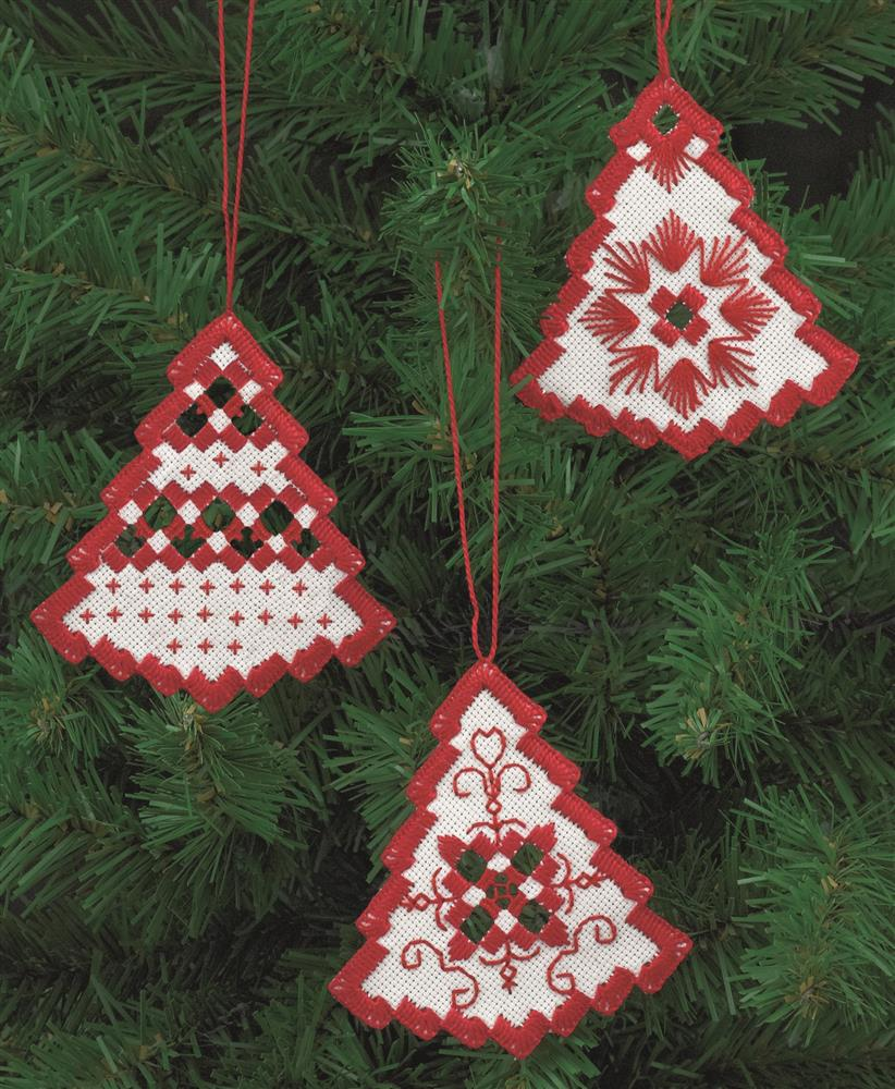 Permin Red Tree Christmas Decorations Embroidery Kit