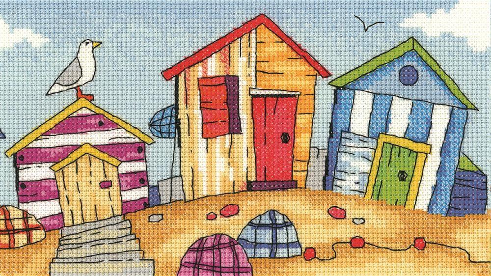 Heritage Beach Huts - Evenweave Cross Stitch Kit
