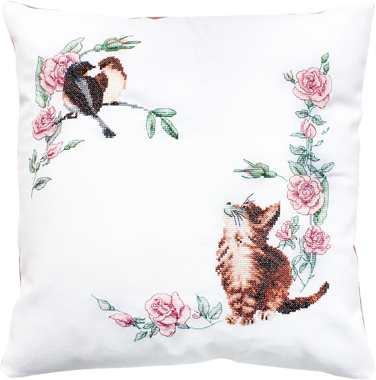 Kitten and Birds Pillow -  Cross Stitch Kit