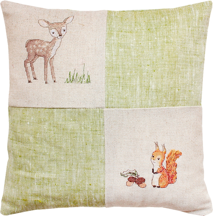Luca-S Deer and Squirrel Pillow Cross Stitch Kit