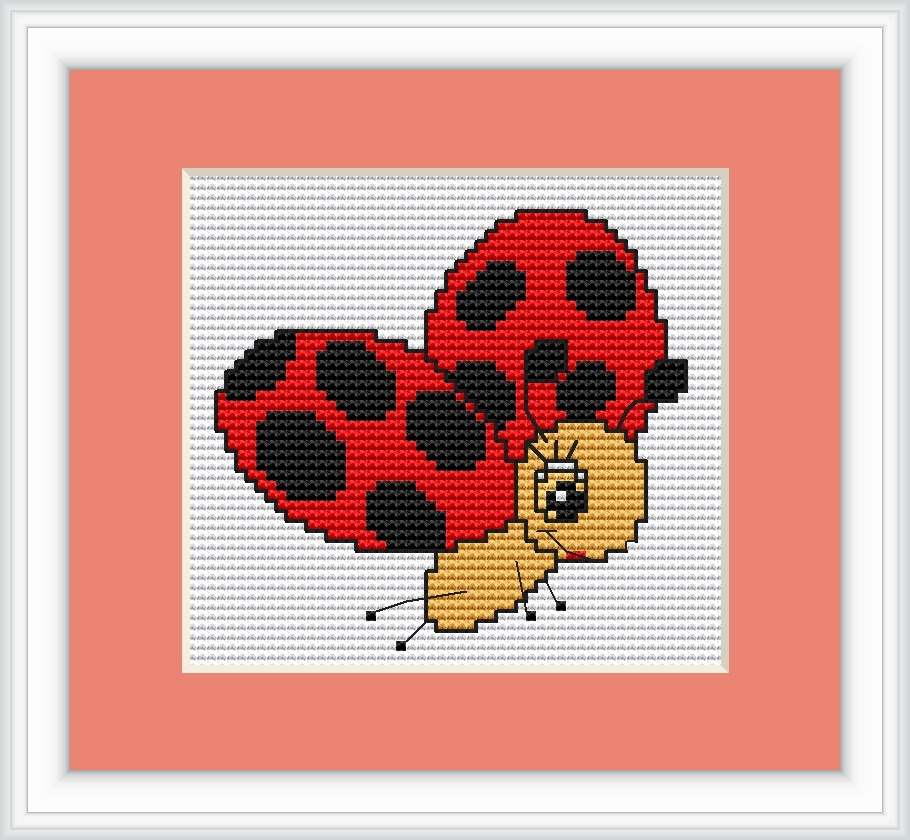 Luca-S Ladybird in Flight Mini Kit Cross Stitch