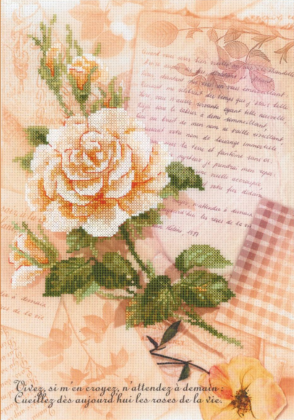 Love Letters and Rose -  Cross Stitch Kit