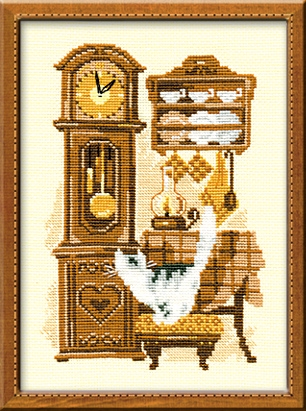 RIOLIS Cat with Clock Cross Stitch Kit