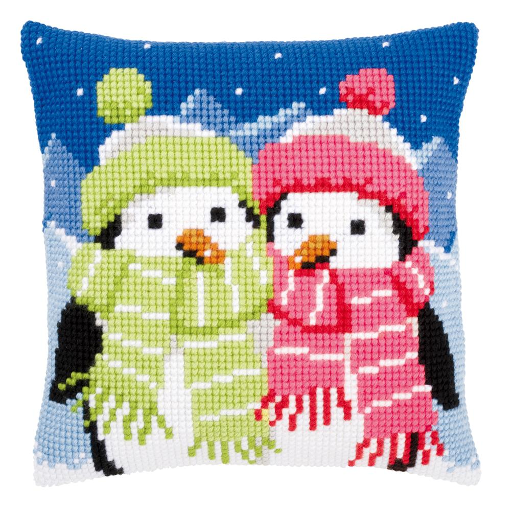 Vervaco Penguins in Scarves Cushion Christmas Cross Stitch Kit