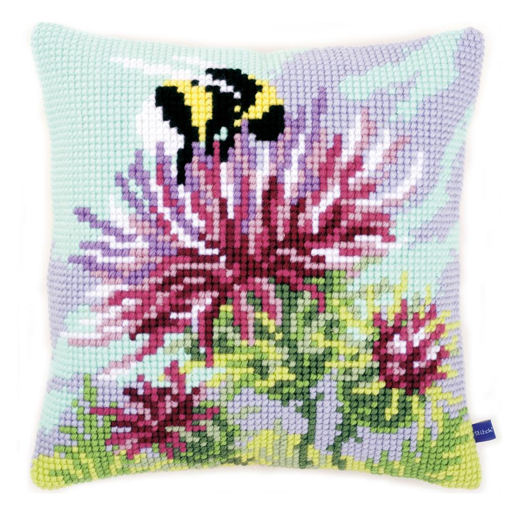 Vervaco Thistle and Bumblebee Cushion Cross Stitch Kit