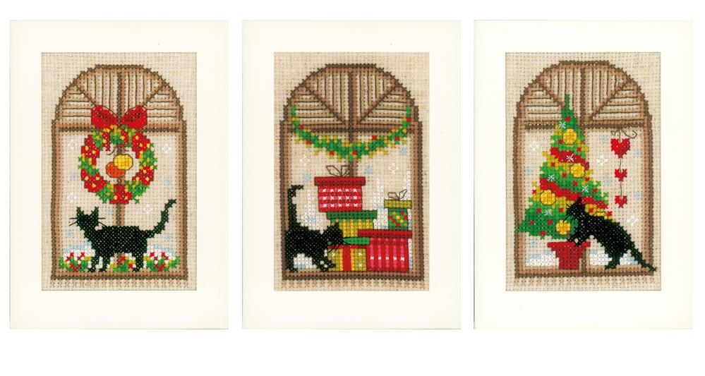 Vervaco Cat in Windows - Set of 3 Christmas Card Making Cross Stitch Kit