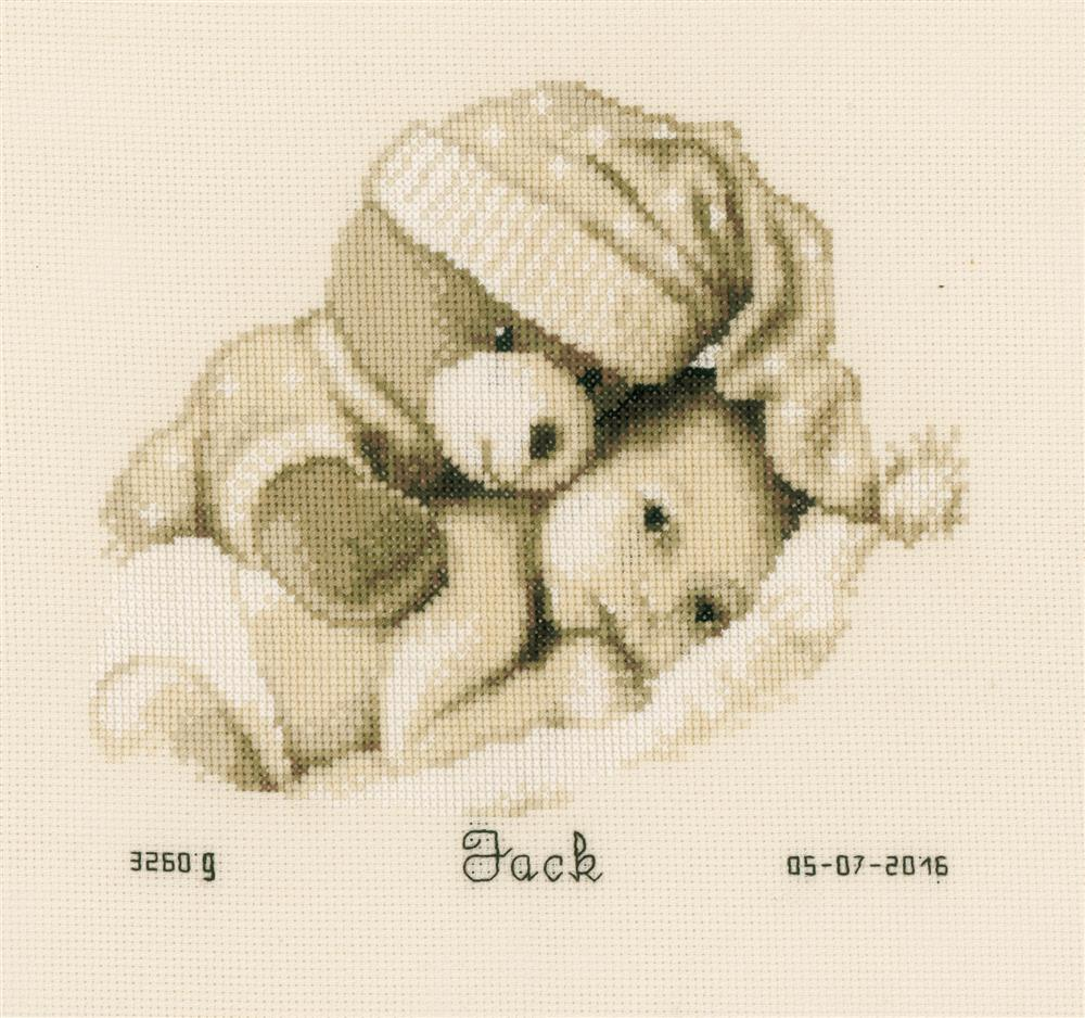 Vervaco Teddy and Baby Birth Record Birth Sampler Cross Stitch Kit