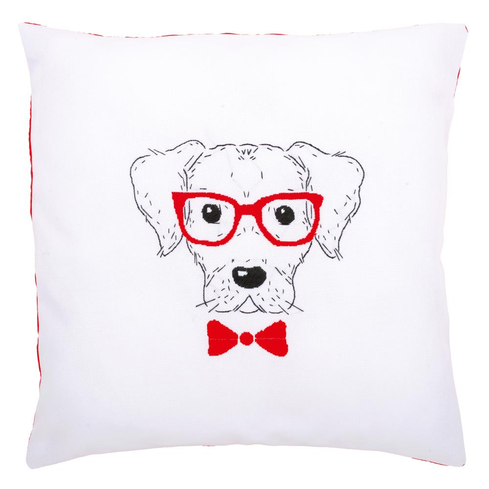 Vervaco Dog with Glasses Cushion Embroidery Kit