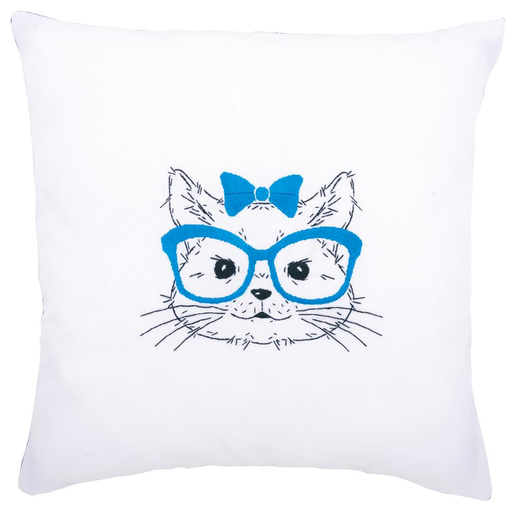 Vervaco Cat with Glasses Cushion Embroidery Kit