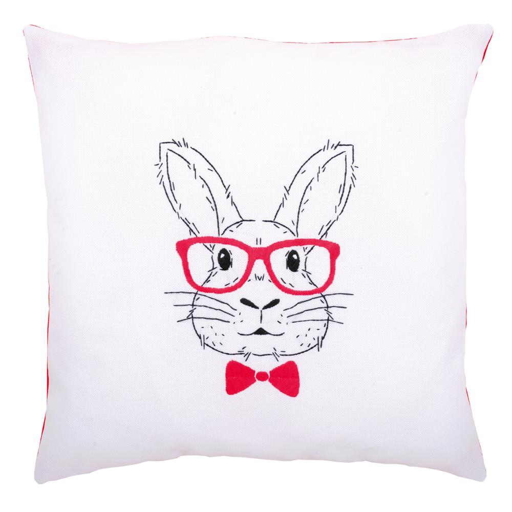 Vervaco Rabbit with Glasses Cushion Embroidery Kit