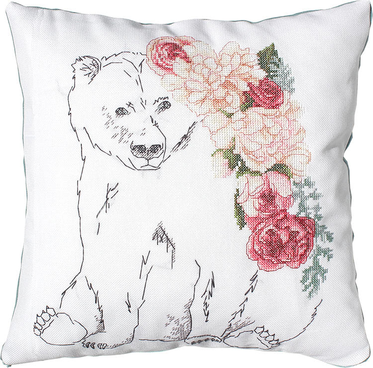 Bear and Roses Cushion -  Cross Stitch Kit