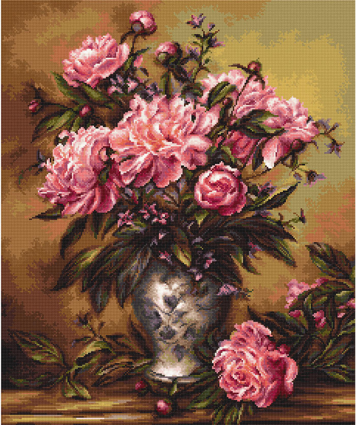 Vase of Peonies -  Cross Stitch Kit