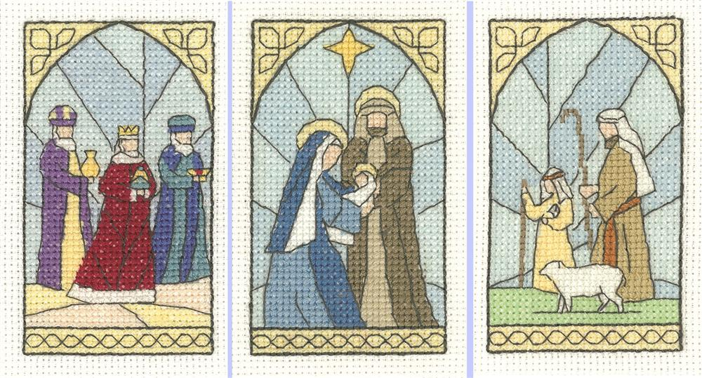 Heritage Stained Glasss - Set 3 Christmas Card Making Cross Stitch Kit