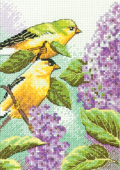 Goldfinches and Lilacs -  Cross Stitch Kit