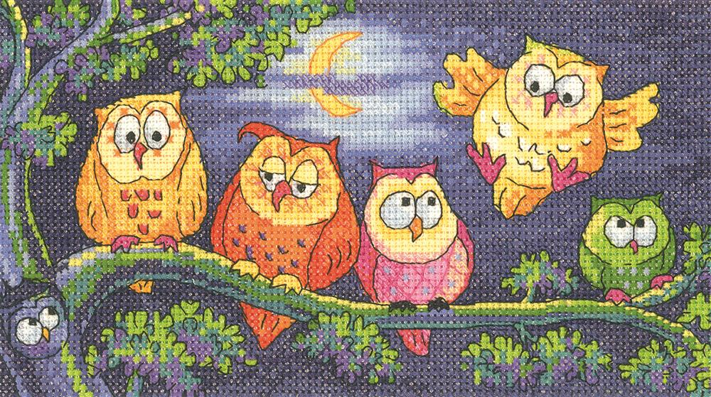 Heritage A Hoot of Owls - Evenweave Cross Stitch Kit