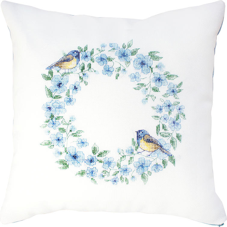 Luca-S Blue Wreath Cushion Christmas Cross Stitch Kit