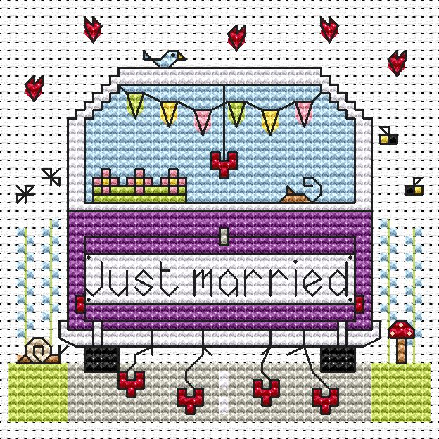 Just Married Campervan Card -  Cross Stitch Kit