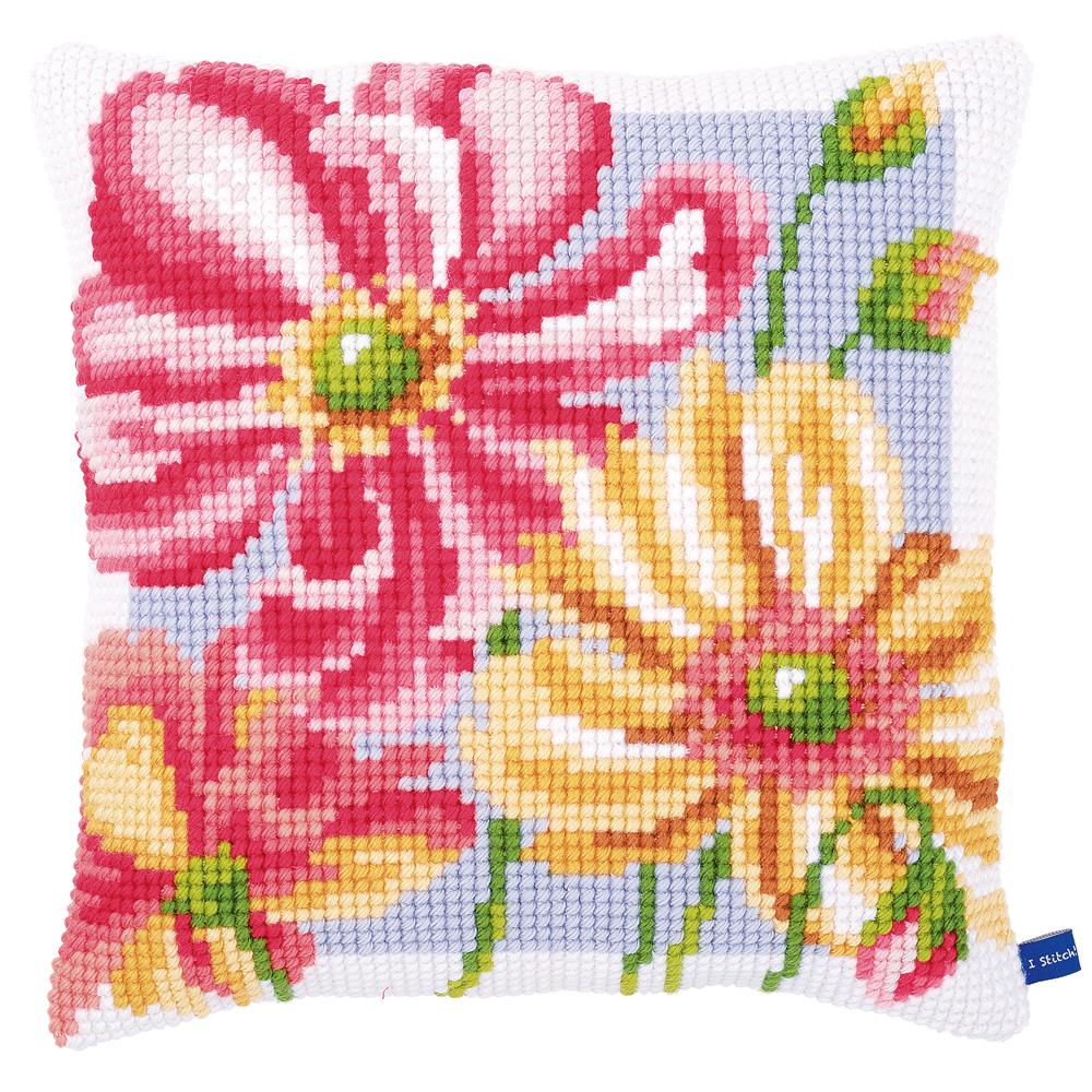 Vervaco Colourful Floral Cushion Cross Stitch Kit