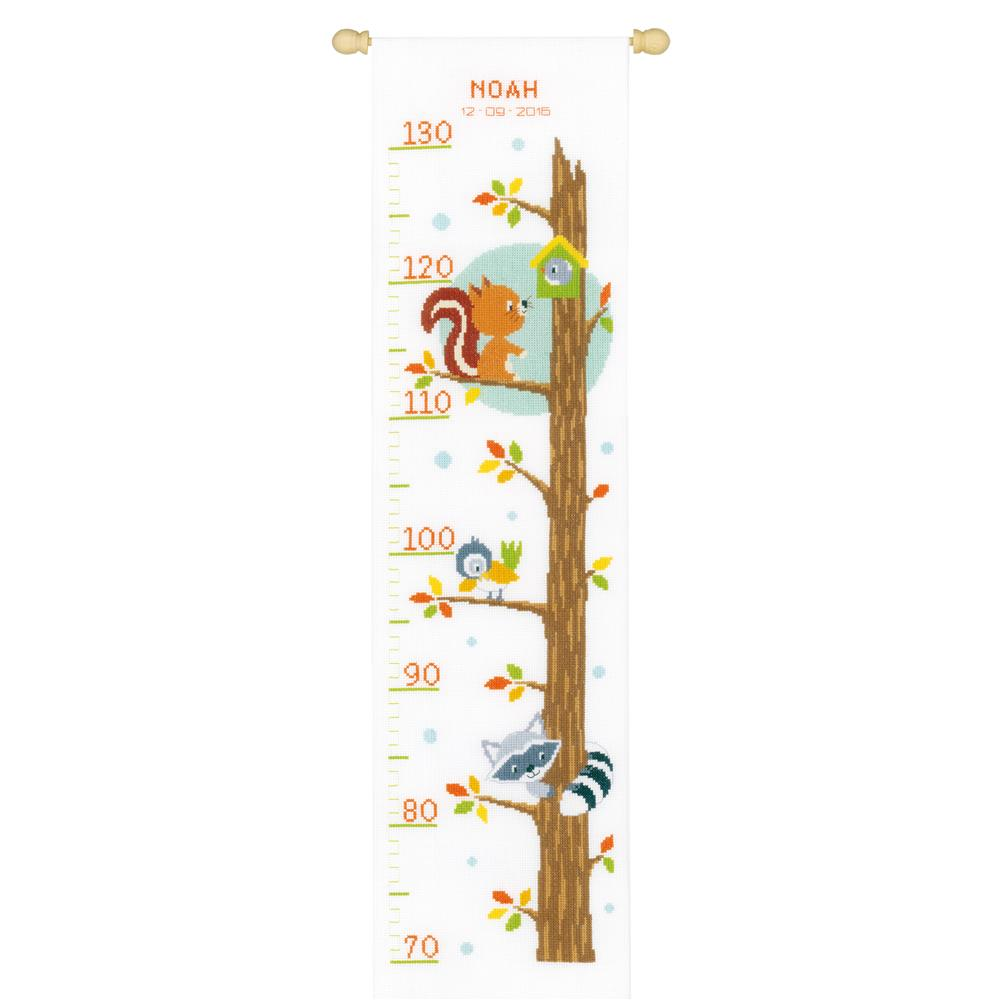 Animals in Tree Height Chart -  Cross Stitch Kit