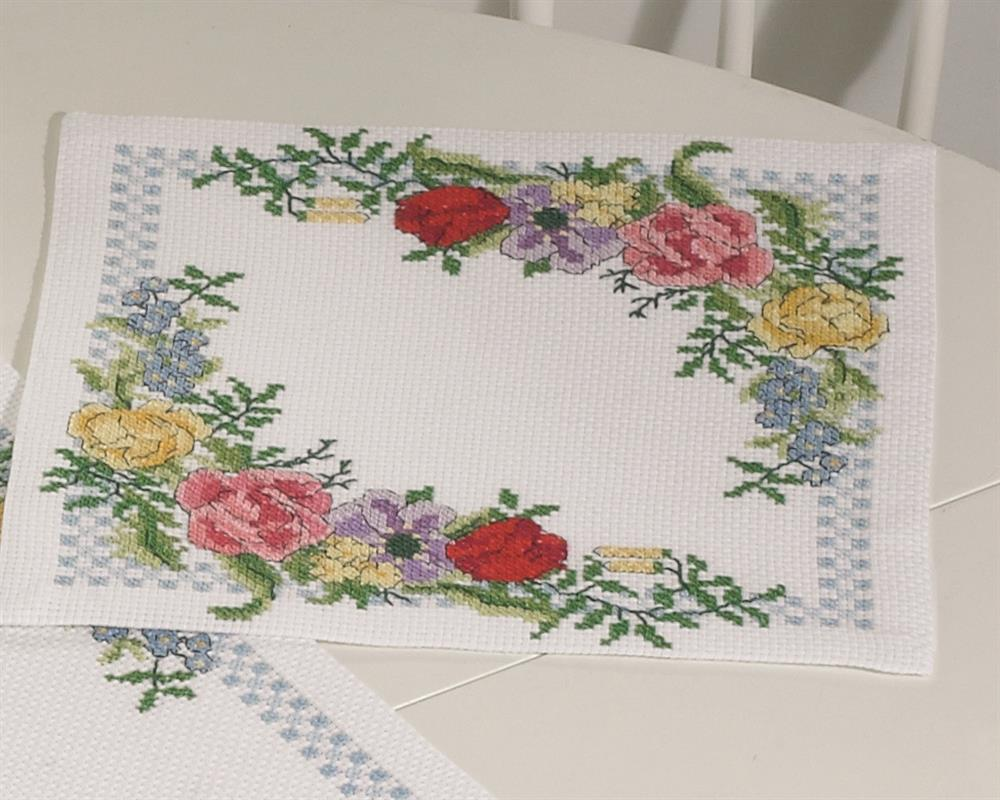 Spring Flowers Tablemat -  Cross Stitch Kit