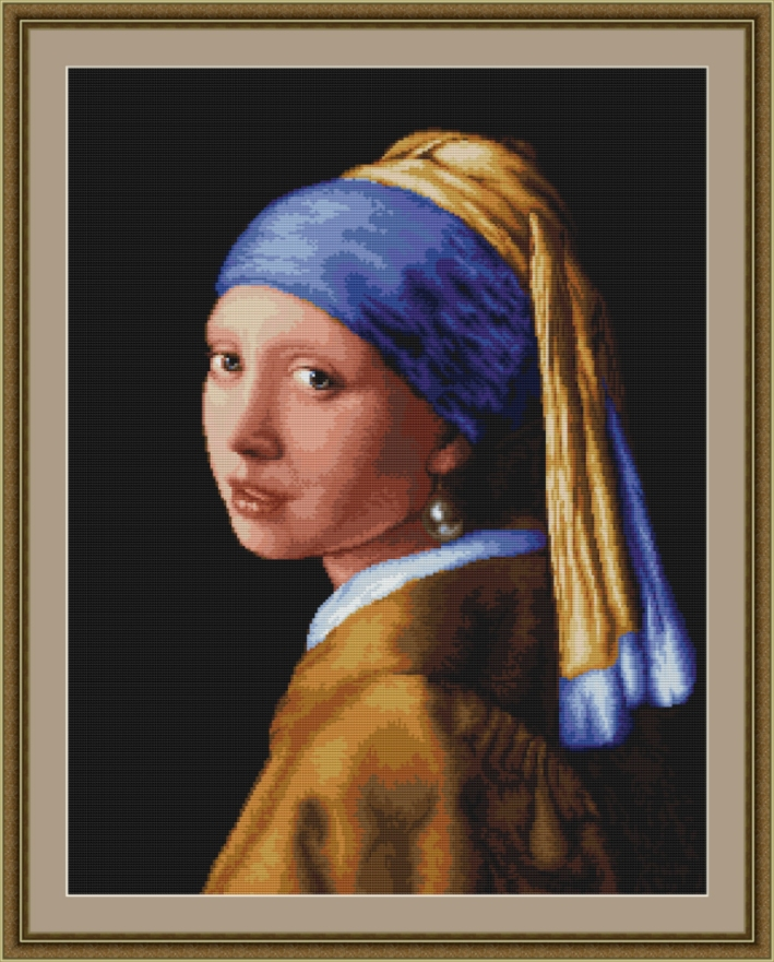 Luca-S Lady with Pearl Earring Cross Stitch Kit