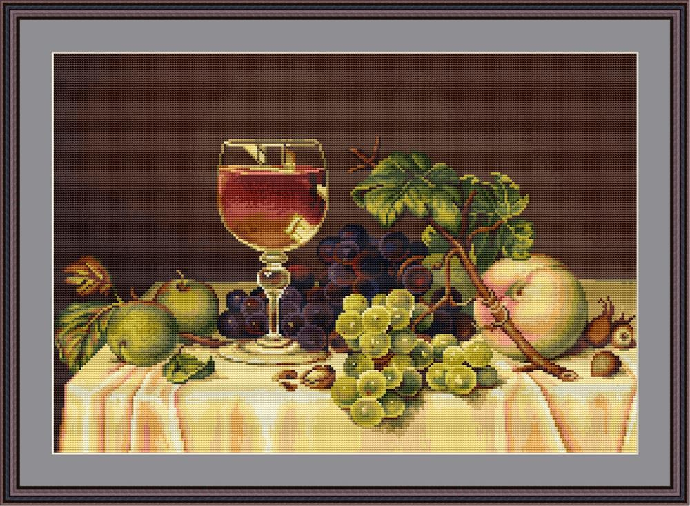 Luca-S Still Life with Wine Glass Cross Stitch Kit