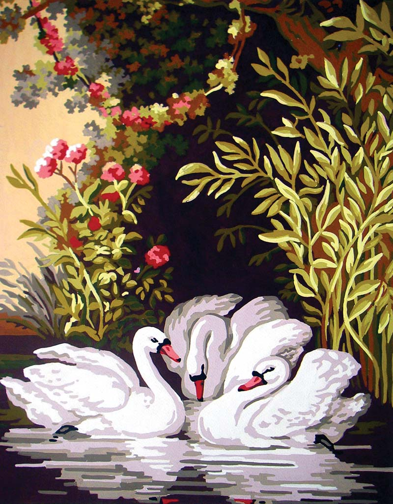 Swans in the Shade -  Tapestry Canvas