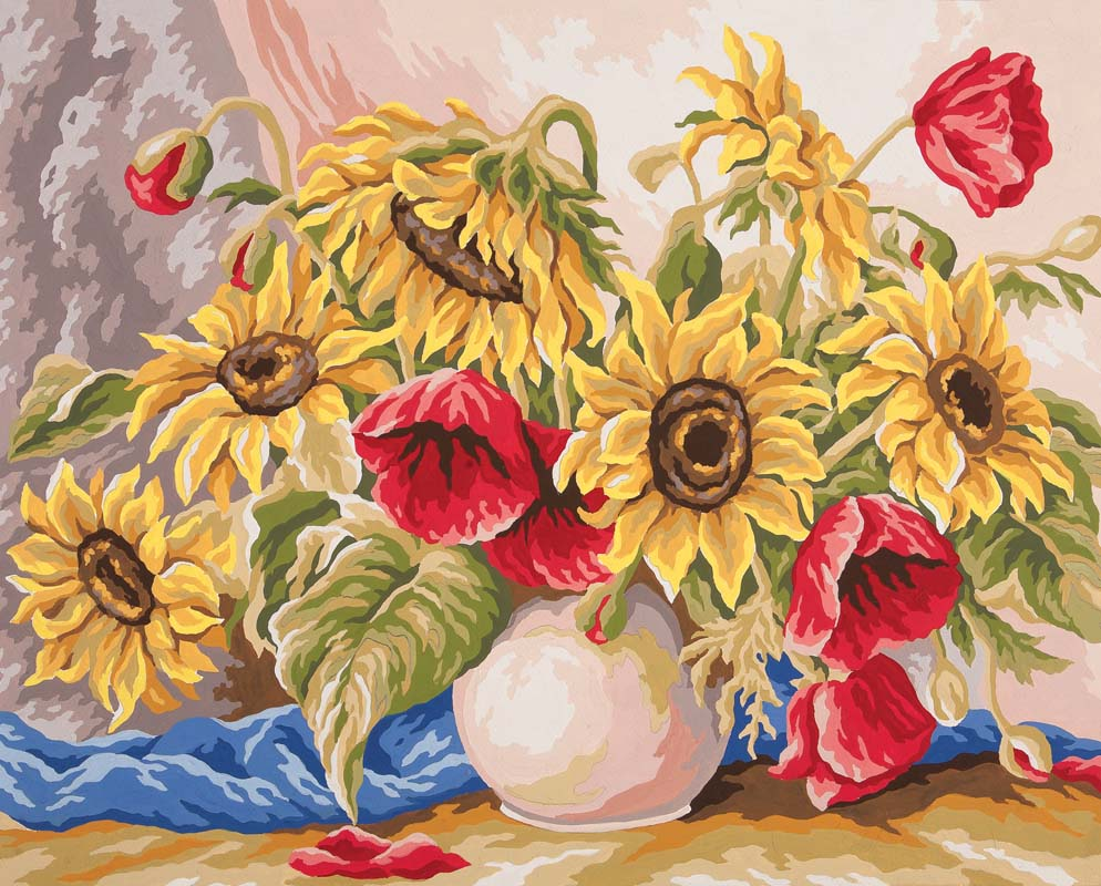Grafitec Poppies and Sunflowers Tapestry Canvas